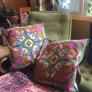 Gorgeous Set of Woven Eclectic Ethnic Wool Pillows